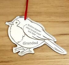 PERSONALISED CHRISTMAS TREE BAUBLE DECORATION MEMORIAL ROBIN SILVER GIFT