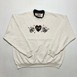 Vintage Top Stitch Ladies Sweatshirt White Cat Graphic Jumper Size M