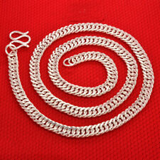 "999 Sterling Silver Necklace 8mmW Bless Curb Chain Link 24""L 60g"