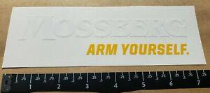 OEM Original Mossberg Arm Yourself Peel N Stick White Yellow Vinyl Sticker Decal