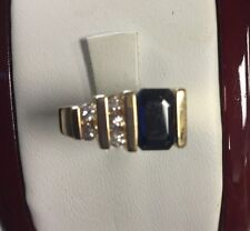 Stunning 14Kt Yellow Gold Genuine Sapphire And Diamond Ring