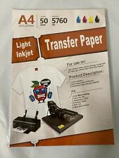 50pcs T Shirt A4 Heat Sublimation Transfer Paper For Light Fabric Printer