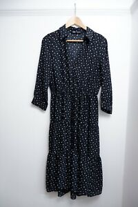 Zara Women's Black Polka Dot Shirt Long Long Maxi Dress Size M VGC