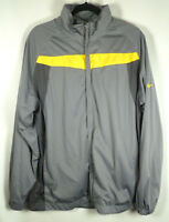 Nike Mens Size Large Jacket Golf Tour Performance Gray Yellow Zipper Mock Neck