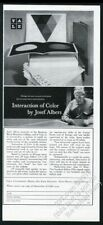 1963 Josef Albers photo Interaction of Color book release vintage print ad