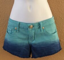 juniors shorts blue tie-dye size 7 Fringed leg Low waist Reign hippie Never Worn