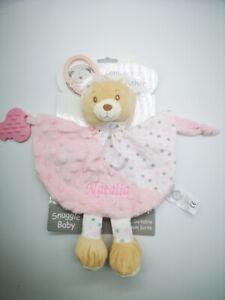 Personalised Baby comforter C/W RATTLE/TEETHER Comforter Gift toy new 2020 0807
