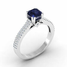 Natural 0.71 Ct Diamond Real Blue Sapphire 14K White Gold Real Gemstone Rings..