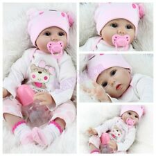 22inch Lifelike Vinyl Silicone Girl Doll Newborn Full Handmade Reborn Baby Dolls