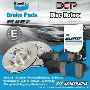 Front Disc Rotors + Bendix Euro Brake Pads for Volvo S60 S80 1998 - 2009