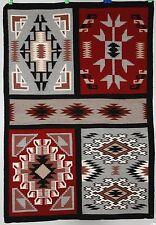 Tight Navajo rug in rug, blanket Native American textile, weaving Sampler