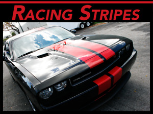 """FITS Dodge Challenger 08-14 Racing Stripes Duel 10"""" Graphic Vinyl Decal CUT KIT"""