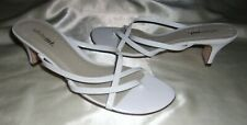 NWOB WHITE MT. WHITE PATENT LEATHER STRAPS OPEN TOE OPEN BACK THONG SANDALS 7 M