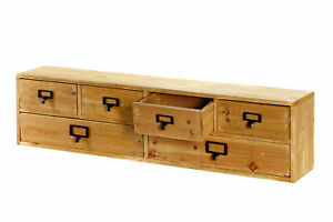 Wide Wooden 6 Drawer Desktop Unit Solid Workshop Apothecary Storage Long Cabinet