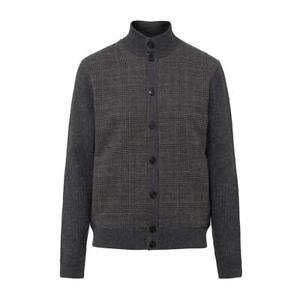 Men's Hackett, Tweed Front, Full Button Cardigan in Graphite