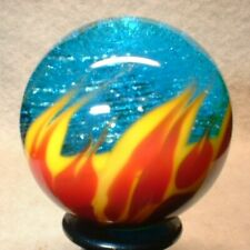"""WILLIS MARBLES BLUE FIRE AND ICE 1-7/32"""" HAND MADE GLASS MARBLE"""