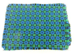 """x6 WELSH WOOL 15"""" x 11"""" TAPESTRY TABLE PLACE MATS VINTAGE RETRO BLUE GREEN UNUSE"""