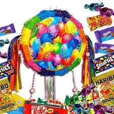 Bunte Pinata zum Ziehen im Luftballon-Design +Süßigkeiten-Füllung für Geburtstag