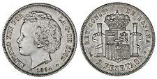 2 SILVER PESETAS / PLATA. ALFONSO XIII. 1894*. AU/SC-. VERY NICE - MUY BONITA