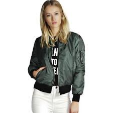 Women Ladies Leather Jacket Coats Zip Up Biker Flight Casual Top Coat Outwear CA