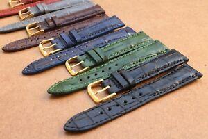 21mm/16mm Genuine Alligator Crocodile SKIN Leather Watch Strap Band Plus Buckle