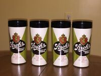 Vintage STROH'S BEER INSULATED PLASTIC MUG Tumbler~ Thermo-Serv Set of 4