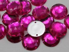 22mm Pink Fuchsia H108 Round Flat Back Sew On Gems For Craft, 15 PCS