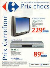 Publicité 2003  CARREFOUR multimédia  téléviseur BLUEsky lecteur DVD LG
