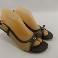 Fioni Kitten Heels Sandals Size 8.5 Women's Shoes Open Toe Slides Brown & Tan