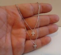 925 STERLING SILVER CROSS NECKLACE PENDANT W/ .25 CT LAB DIAMONDS/ 18'' LONG