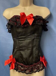Black & Red Satin Lace Bows & Frills Basque Corset Size XXL (16 Plus)