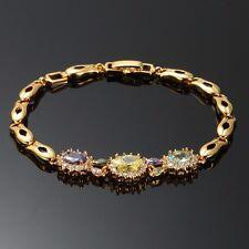 "24 Karat Damenarmband Gelbgold Armkette Zirkonia Echt 750er gold vergoldet 7.48"""