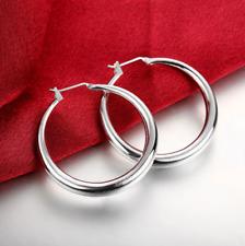 Womens Sterling Silver Medium 34mm Round Circle Charm Hoop Earrings #EA93