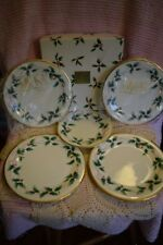 """5 Pieces Mikasa Ribbon Holly Christmas Plates 1 Dessert(6.75"""") & 4 Lunch(8.5"""")"""