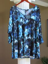 CYNTHIA ROWLEY Black Aqua Blue Multi Print 3/4 Sleeve Tunic Top Size 3X NWT