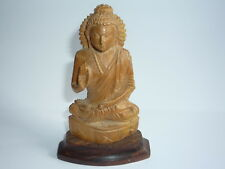 Chinese Wooden Hand Carved Buddha Figurine Statue