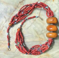 HANDCRAFTED BERBER NECKLACE - Moroccan Tribal Jewelry - Coral Glass Beads - 25""
