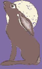 BN original cross stitch  chart of  a moon gazing hare 1