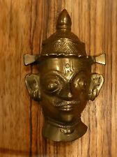 "Antique Hindu Bronze Indian Ritual Mask Of Goddess Parvati 4"" [Y8-W6-A8-E8]"