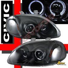 96 97 98 Honda Civic EK Dual Halo Angel Eyes Black Projector Headlights RH + LH