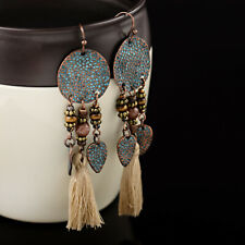 Vintage Bohemian Boho Leaves Khaki Tassel Drop Dangle Women's Earrings Jewellery