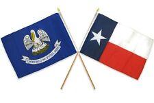 "12x18 12""x18"" Wholesale Combo State Louisiana & Texas Stick Flag"