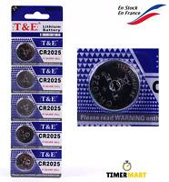 Lot de 5 Pile Bouton Batterie CR2025 3V Lithium TimerMart