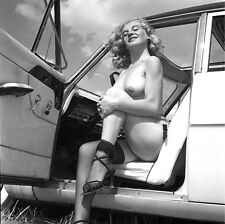 1960s Sitting Nude In car with door open 8 x 8  Photograph