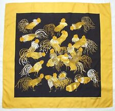 RARE Vintage 1966 HERMES Paris LES COQS Roosters Yellow Black Luxury Silk Scarf