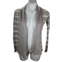 Express Women Extra Small Cardigan Beige Long Sleeve Open Front Striped 02891