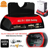 Techlab HDD Docking Station IDE SATA Dual USB 3.0 Clone Hard Drive Card Reader