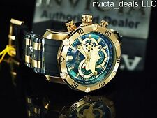 Invicta Men's Pro Diver Scuba Skeletonized Green Dial 18K Gold Plated SS Watch