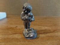 """2 1/2"""" Tall Pewter Boy Holding A Puppy Figurine #2674"""