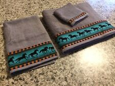 Western Towel Set - Teal Horses on Charcoal Grey Towels